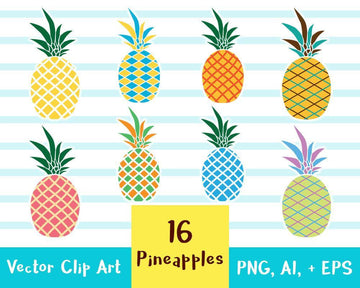 16 Pineapples Clipart