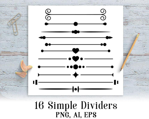 16 Simple Page Dividers Clipart - The Digital Download Shop