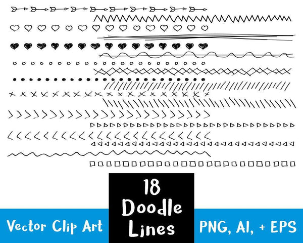 18 Doodle Lines Clipart Set 2 - The Digital Download Shop