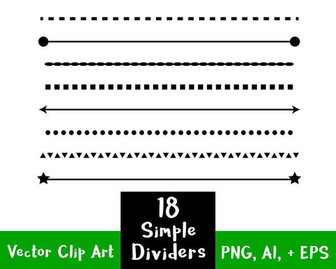 18 Simple Shape Line Dividers Clipart - The Digital Download Shop