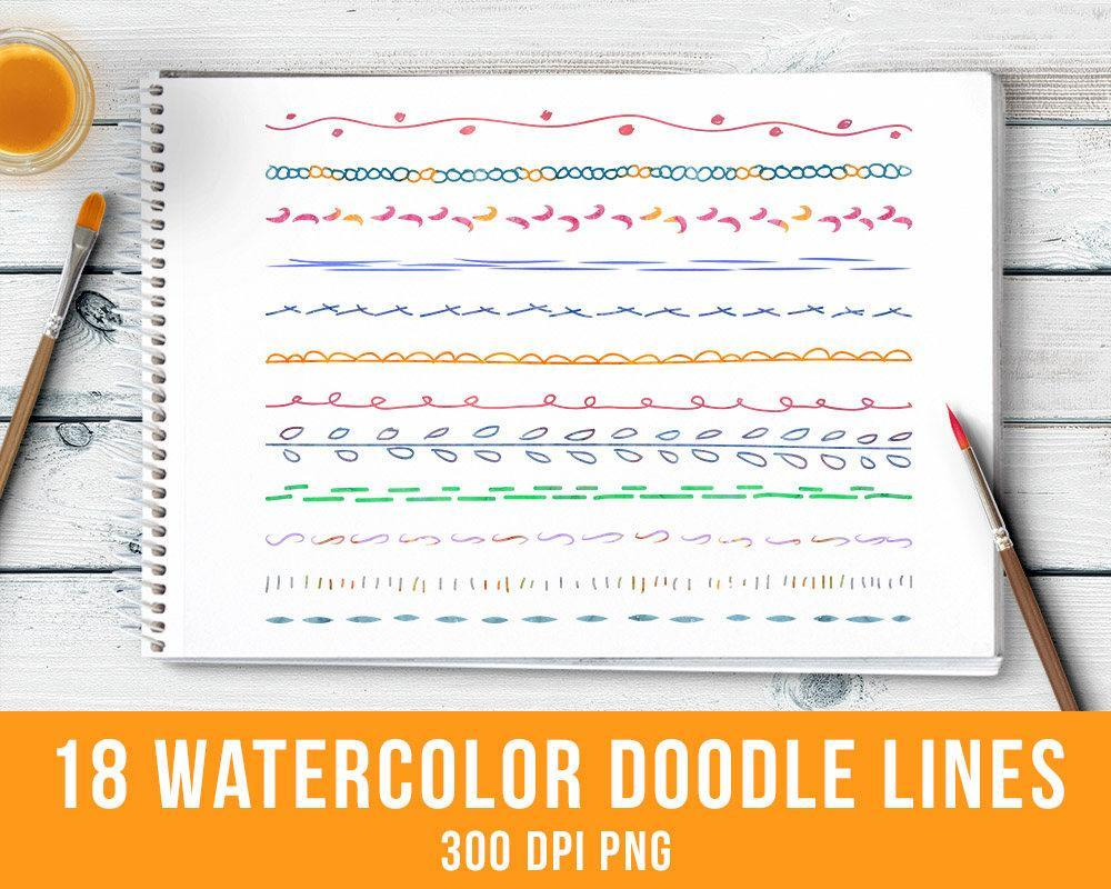 18 Watercolor Doodle Lines Clipart Set 1 - The Digital Download Shop