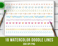 18 Watercolor Doodle Lines Clipart Set 2 - The Digital Download Shop