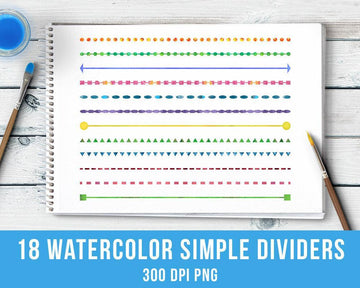 18 Watercolor Simple Line Dividers Clipart