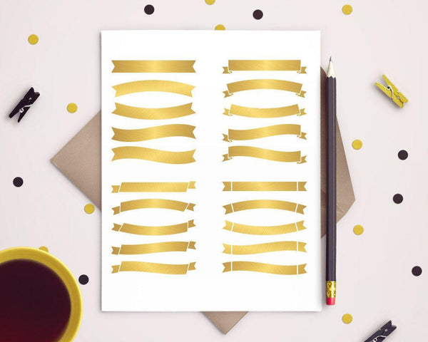 20 Gold Banners Clipart - The Digital Download Shop