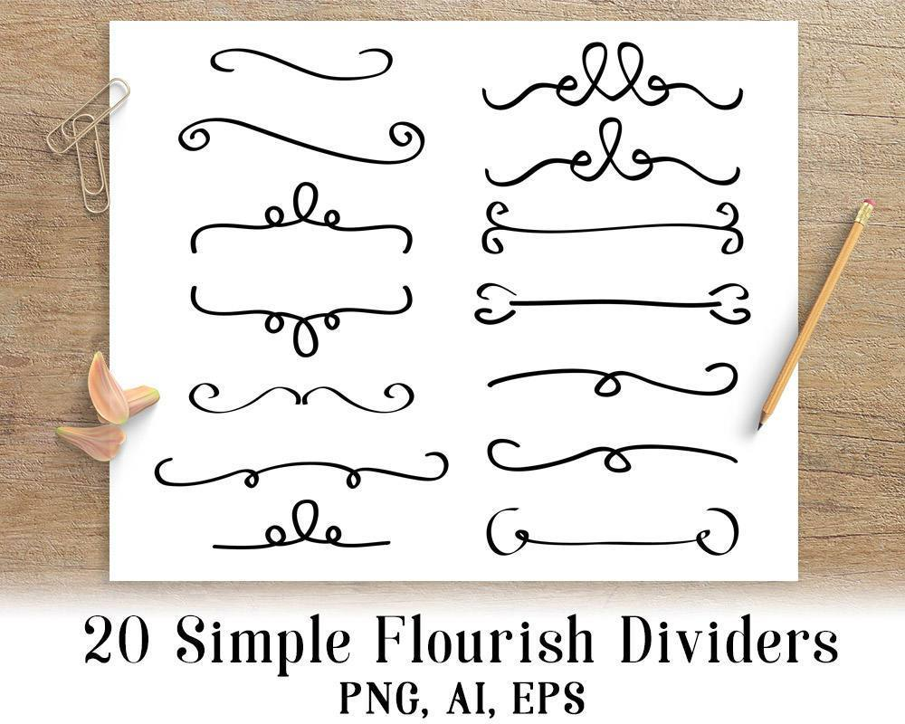 flourish divider 20 simple flourish dividers clipart the digital download 9920