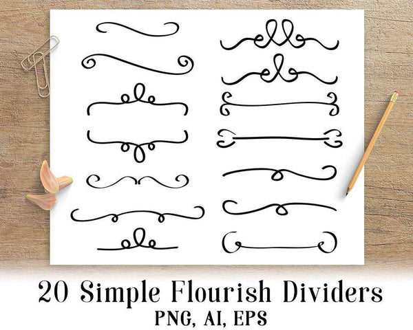 20 Simple Flourish Dividers Clipart - The Digital Download Shop