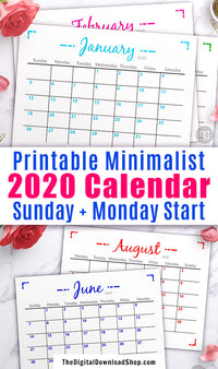 2020 Blank Monthly Calendar Printable- This blank monthly calendar letter size printable would be perfect for hanging up by your desk, or putting in your binder! | Sunday start calendar, Monday start calendar, calendar PDF, #printable #calendar #2020Calendar #DigitalDownloadShop