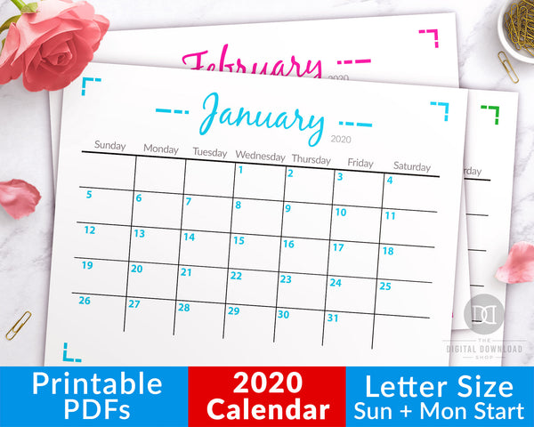 2020 calendar printable with a minimalist geometric theme. This blank monthly calendar letter size printable would be perfect for hanging up by your desk, or putting in your binder!