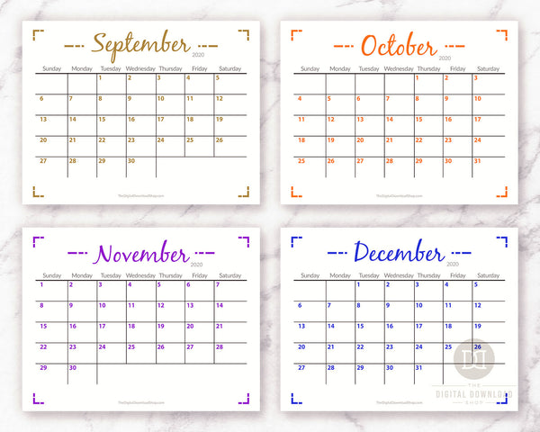 2020 blank monthly calendar printable with a minimalist geometric theme.