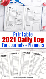 2021 + 2020 Bullet Journal Daily Log Template Printable- There are 365 days in a year- don't draw out your daily log 365 times! Instead, use these handy printables to get your bujo set up fast. | #bulletJournal #bujo #plannerPrintables #planner #DigitalDownloadShop