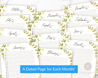 2021 Monthly Planner Printable- Watercolor Greenery