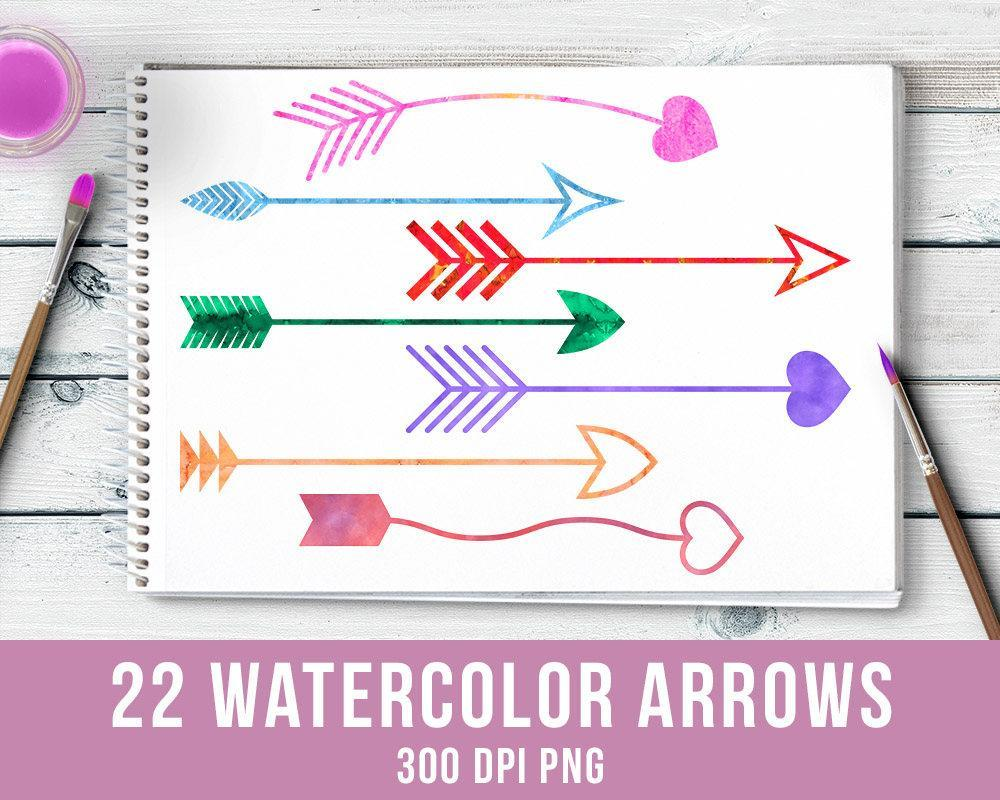 22 Watercolor Arrows Clipart - The Digital Download Shop