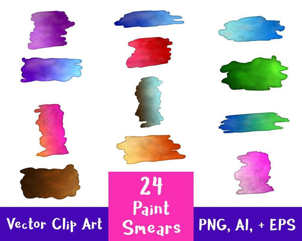 24 Rectangular Paint Smears Clipart - The Digital Download Shop