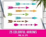 25 Colorful Arrows Clipart - The Digital Download Shop