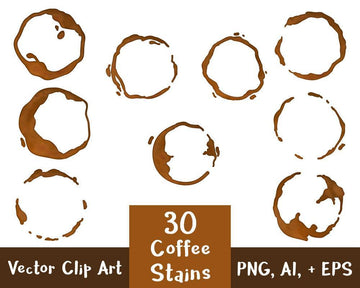 30 Coffee Stains Clipart- Watercolor + Black