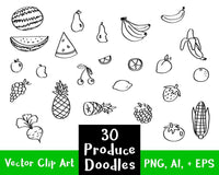 30 Fruit + Veggies Doodle Clipart - The Digital Download Shop