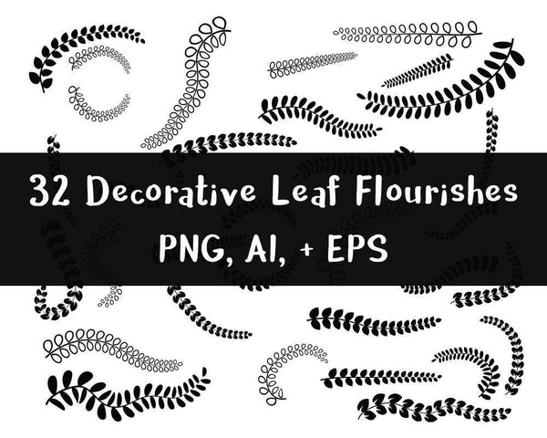 32 Leaf Flourishes Clipart - The Digital Download Shop