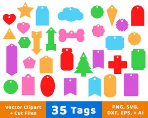35 Tags Vector Clipart - The Digital Download Shop
