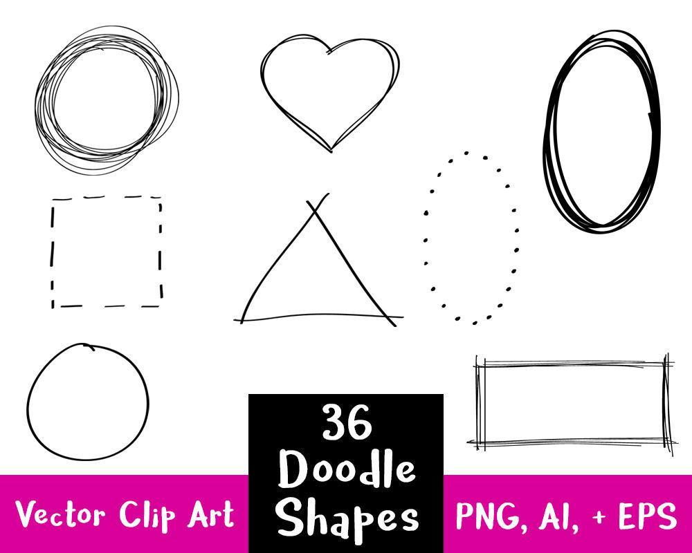 36 Doodle Clipart Shapes Clipart - The Digital Download Shop