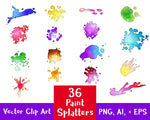 36 Paint Splatters Watercolor Clipart - The Digital Download Shop