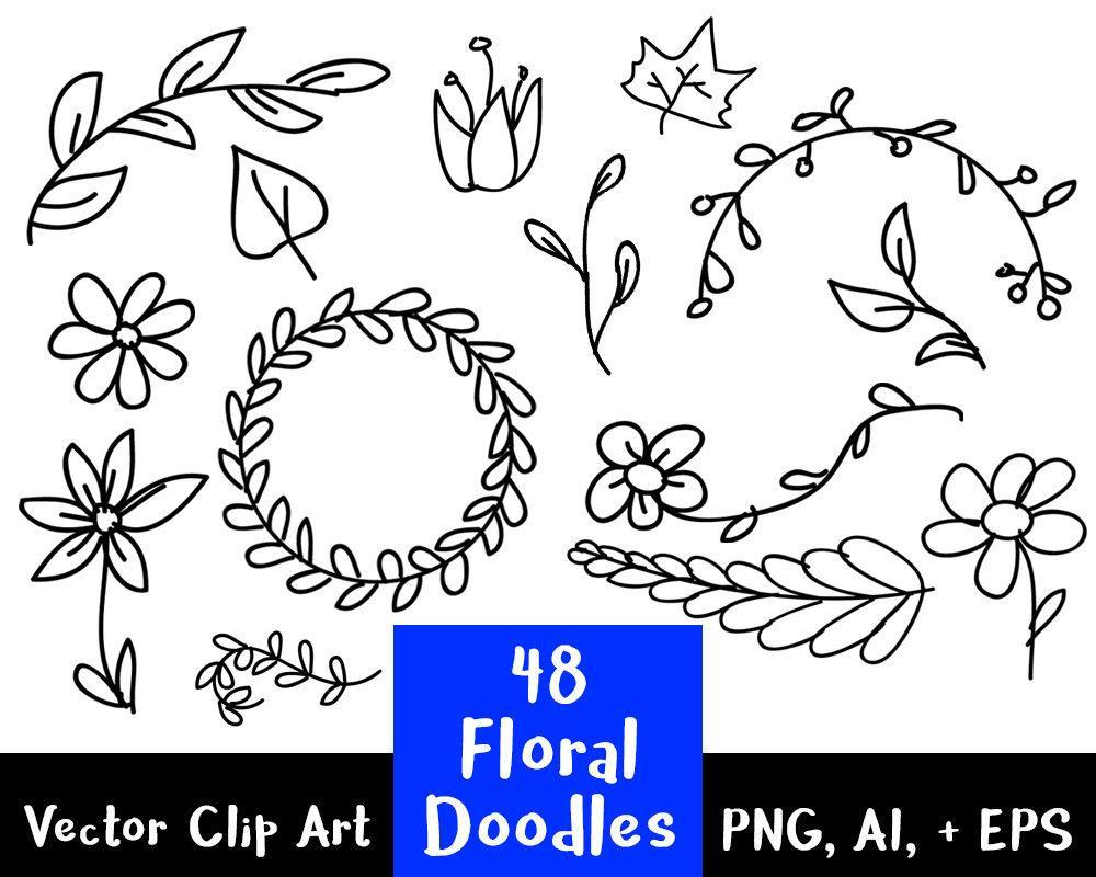48 Floral Doodles Clipart - The Digital Download Shop
