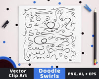 50 Swirls Doodle Clipart - The Digital Download Shop