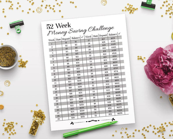 52 Week Money Saving Challenge Printable - The Digital Download Shop