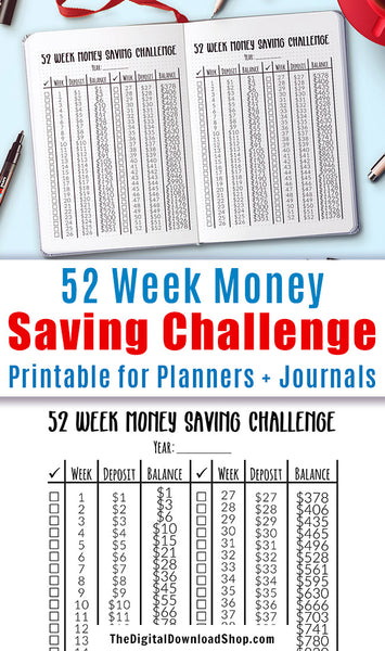 Money Saving Challenge Printable- Use this savings chart printable to keep track of your savings as you do the 52 week challenge! This is perfect for planners and bullet journals! | frugal living, money saving challenge template printable, personal finance, #saveMoney #moneySaving #DigitalDownloadShop