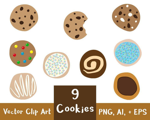 9 Cookies Clipart - The Digital Download Shop
