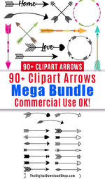 93 arrow vector clipart images (black rustic and colorful tribal/boho) for personal and commercial use!