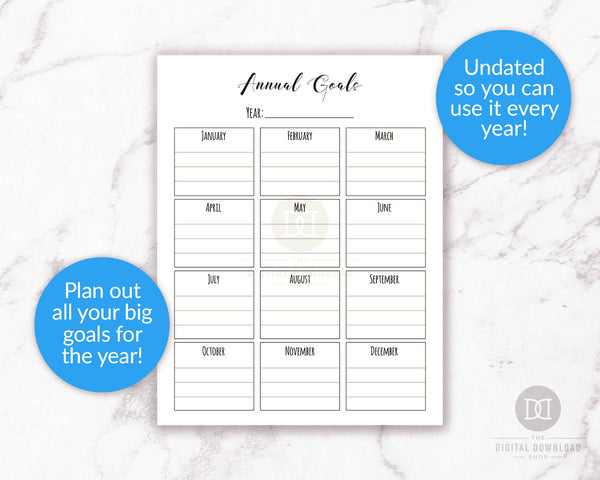 Annual goals planner printable
