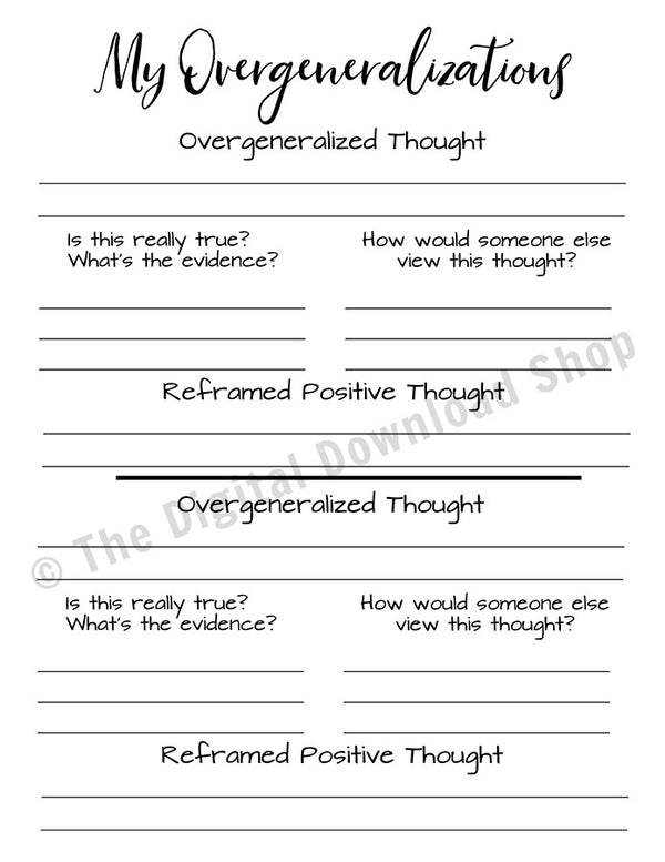 Anxiety Worksheet Printable- Overgeneralized Thought Reframing