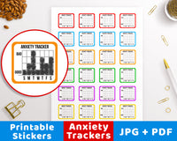 Anxiety Tracker Printable Planner Stickers- The Digital Download Shop