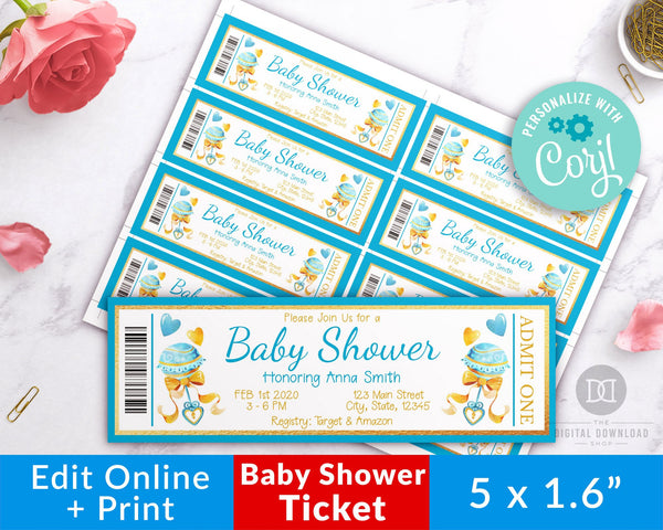 Boy Baby Shower Invite Ticket Template