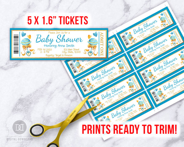 Boy Baby Shower Invite Ticket Template *EDIT ONLINE*