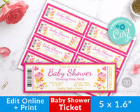 Girl Baby Shower Invite Ticket Template