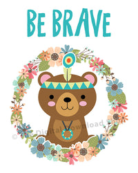Be Brave Bear Nursery Printable- The Digital Download Shop