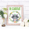 Be Curious Raccoon Nursery Printable