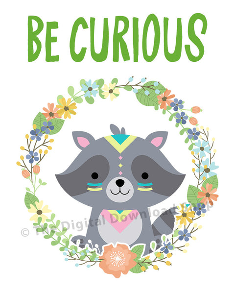 Be Curious Raccoon Nursery Printable- The Digital Download Shop
