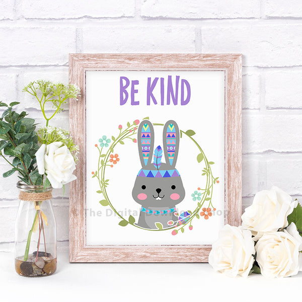 Be Kind Rabbit Nursery Printable- The Digital Download Shop