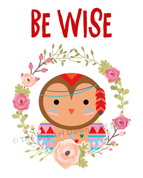 Be Wise Owl Nursery Printable- The Digital Download Shop