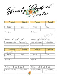 Beauty Tracker Printable