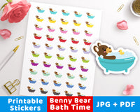 Bath Time Printable Planner Stickers- Benny Bear- The Digital Download Shop