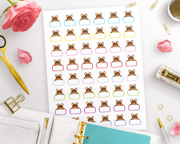 Blank Printable Planner Stickers- Benny Bear