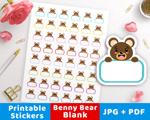 Blank Printable Planner Stickers- Benny Bear- The Digital Download Shop