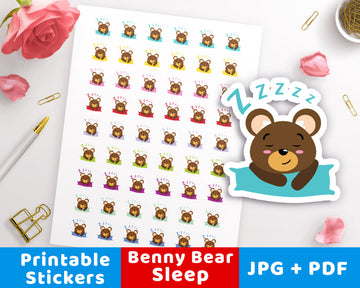 Sleep / Nap Time Printable Planner Stickers- Benny Bear