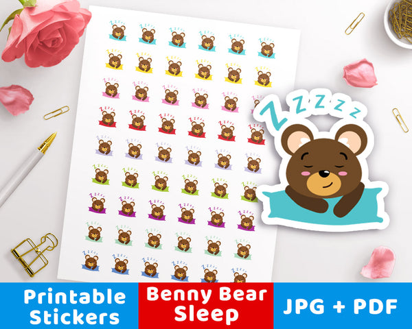 Sleep / Nap Time Printable Planner Stickers- Benny Bear- The Digital Download Shop