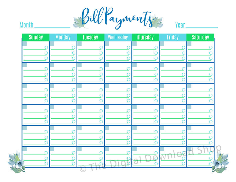 photo about Bill Payment Calendar Printable named Monthly bill Charges Calendar Printable- Floral