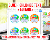 Happy Birthday Labels Editable Printable- The Digital Download Shop
