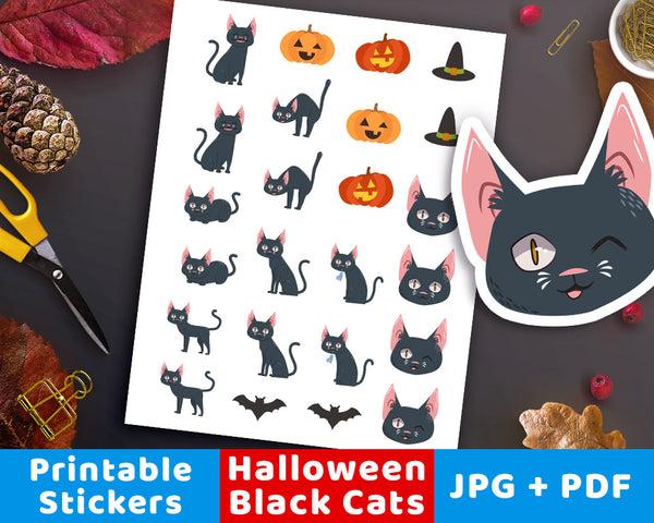 Black Cat Printable Planner Stickers